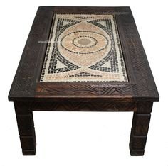 Badia Design Inc Store - Carved Wood Coffee Table with Mosaic Tiles - CW-CT002, $1,100.00 (http://www.badiadesign.com/carved-wood-coffee-table-with-mosaic-tiles-cw-ct002/)