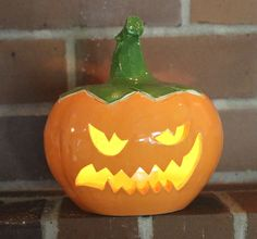 Ceramic Halloween Jack-o'-lantern In Orange, Yellow and Green Handmade by…