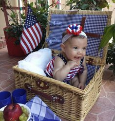 Fourth of July pictures, baby lyah representing America!