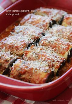 Best Skinny Eggplant Rollatini with Spinach by Skinnytaste. This decadent, cheesy Italian comfort dish is my favorite way to enjoy eggplant and now that the weather is getting cooler, a great excuse to turn on your oven. Thin slices of eggplant are baked, then stuffed with ricotta, parmesan and spinach and baked with my homemade marinara sauce and topped with melted mozzarella cheese. Folks, this dish is restaurant quality (without the frying and extra fat you'd get in a restaurant).