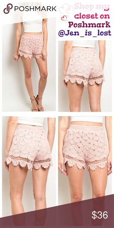 Peach Crochet Shorts  Small Peach Crochet Shorts  Peach crochet shorts.  Fabric Content: 98% POLYESTER 8% SPANDEX 🚫No Trades🚫 ✅Reasonable Offers Are Considered✅ Use the blue offer button. Shorts