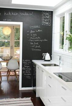 Construindo Minha Casa Clean: 16 Cozinhas com Lousa na Parede!