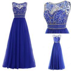 Scoop Neckline Navy Blue Rhinestone Beaded Long A-line Chiffon Prom Dresses Grad Dresses, Prom Dresses Blue, Dress Outfits, Wedding Dresses, Dress Prom, Designer Formal Dresses, Maid Of Honour Dresses, Dream Dress, Dress Making