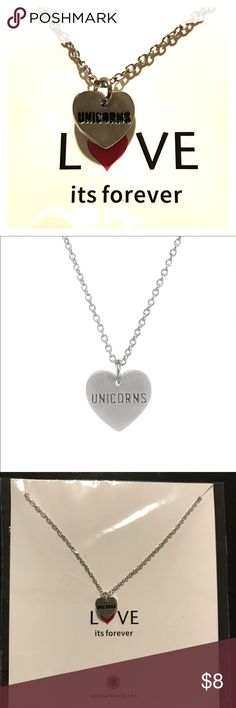UNICORN love necklace🦄 BRAND NEW 🦄Silver heart shape necklace. Says UNICORNS in the middle of the heart. 🦄🦄🦄 Jewelry Necklaces