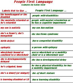 People first language!!! A person with a disability is not defined by their disability, they are a person first!