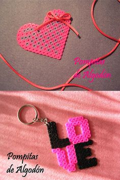 Hama bead heart and love keyring Hama Beads Design, Diy Perler Beads, Perler Bead Art, Pearler Beads, Melty Bead Patterns, Pearler Bead Patterns, Beading Patterns, Pixel Beads, Fuse Beads