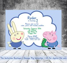 George Pig Invitation Peppa Pig by TheInvitationBoutiqu on Etsy, $12.00