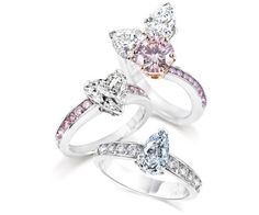 Channel set coloured diamond rings