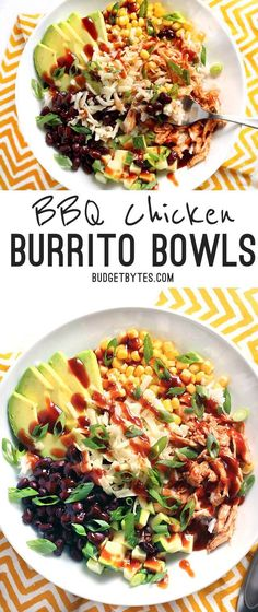 BBQ Chicken Burrito Bowls are an easy, customizable lunch option that is great both hot or cold! @budgetbytes