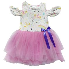 d2217f358 Pastel Unicorn - Cold Shoulder Tutu Chiffon Stretch Cotton Dress