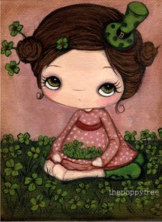 Clover Print Green Irish Girl ArtLucky  5 x 7 by thepoppytree, $12.00