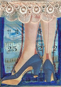 Retro Legs mixed media collage by Joy Northrop