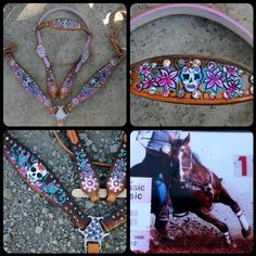 Sugar Skull headstall and breastcollar