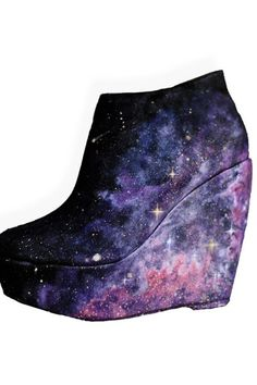 NEBULA WEDGE HEELS - OK, I love the night sky and nebulae and all, but this is ridiculous, folks! Take an already ugly shoe and put a beautiful nebula on it??? You're disgracing the solar system!!!