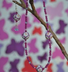 Purple Fimo Flower Necklace And Earrings Set