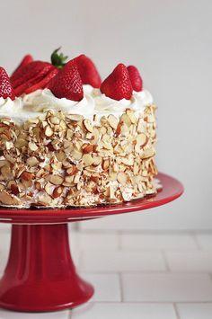 Strawberry Shortcake Cake with sliced almonds
