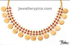 Simple kasulaperu with two rows of pota rubies ~ Gold Jewellery Designs