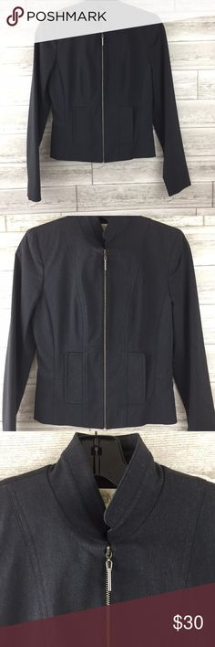 """CACHE Blazer Suit Jacket 4 Charcoal Gray Full Zip CACHE Blazer Suit Jacket 4 Charcoal Gray Full Zip Cropped Womens No flaws  17"""" Pit to pit 33"""" Waist 21.5"""" Length 15"""" Shoulder 25"""" Sleeve  No flaws Cache Jackets & Coats Blazers"""