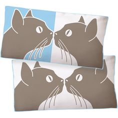kissing cats pillow :3