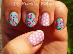 Vintage Rose & Polka Dot Nail Design