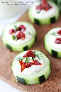 Cucumber Canapés with Whipped Feta, Sun-Dried Tomatoes and Basil