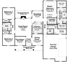 The Bellmont Lane 7917 - 3 Bedrooms and 2.5 Baths | The House Designers.  I like the lay out of this.   Nice that it has a study to use as an office.  The 3/4 bath and closet in the bonus room are nice, gives flexibility.