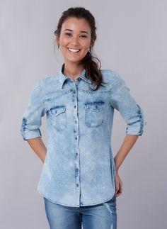 Camisa Jeans Poá