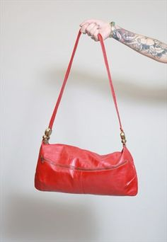 Vintage 1980's Vibrant Red Leather Handbag