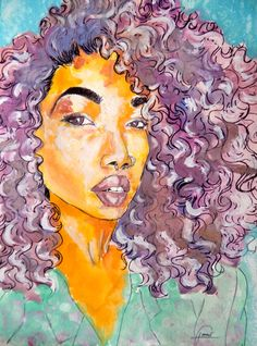 Woman with very colorful, curly hair. Reflecting a flower in it's natural habitat. Watercolor, white acrylic, ink and a splash of brown sugar.