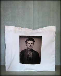 Tintype Tote  Man In Checkered Shirt by ScarlettSlipper on Etsy