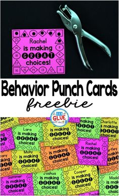 Are you looking for a fun, hands-on way to encourage your students to consistently make good choices? So was I and then I started implementing these behavior punch cards and suddenly my students were working VERY hard to earn their daily punch. by darla Behavior Incentives, Classroom Behavior Management, Classroom Reward System, Classroom Behaviour, Behaviour Management Strategies, Student Behavior, Student Incentives, Kindergarten Behavior, Classroom Incentives