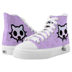 Pastel goth purple emoji kitty cat skull High-Top sneakers - animal gift ideas animals and pets diy customize Pastel Punk, Pastel Goth Fashion, Kawaii Fashion, Punk Fashion, Pastel Goth Clothes, Pastel Goth Shoes, Diy Goth Clothes, Korean Fashion Pastel, Scene Clothes