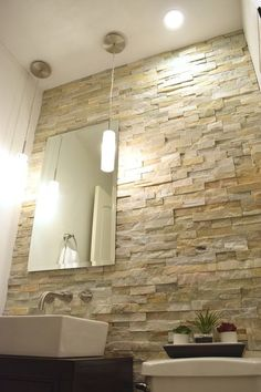 Powder Room A DIY Half Bath Transformation for $1,000 - Desert Quartz Stone Tile from Lowes