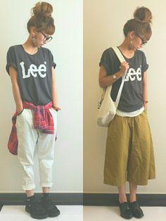 AyumiさんのTシャツ・カットソー「Lee PRINT H/S TEE」を使ったコーディネート