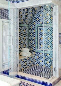 Blue Moroccan Mosaic Tile Bathroom Moroccan bathroom decor Spanish style home . bathroom blue decor hom moroccan mosaic Simple bathroom ideas in the Bathroom Styling, Bathroom Interior Design, Restroom Design, Cape Cod Bathroom, Shower Bathroom, Bathroom Ideas, Mosaic Bathroom, Bathroom Vanities, Master Bathroom