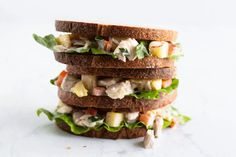 Low FODMAP Hawaiian Chicken Salad is a fun way to use leftover cooked chicken. Enjoy this colorful chicken salad as a low FODMAP lunch or supper sandwich. Hawaiian Chicken Salad, Warm Chicken Salad, Fodmap Diet, Low Fodmap, White Wheat Bread, Whole Wheat Sourdough, Almond Chicken, Stone Soup, Fodmap Recipes