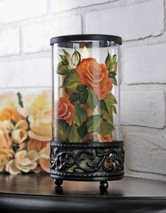 one stroke painting | One Stroke Painting / Candle Holder Nothing is as beautiful as a rose ...