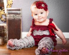 3pcs Petti Romper set, Dark Burgundy Wine and silver Grey Lace Petti Romper set, romper and headband set, baby girls outfit, Birthday outfit