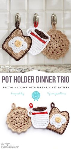 Fun Crochet For Kitchen Free Patterns Fun Crochet For Kitchen Free Patterns,DIY Weihnachtsgeschenke Pot Holder Dinner Trio Free Crochet Pattern projects knitting bags for beginners videos Crochet Amigurumi, Crochet Food, Crochet Kitchen, Cute Crochet, Diy Crochet Gifts, Crochet Cupcake, Funny Crochet, Crochet Mignon, Knitting Patterns