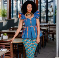 Classy picture collection of Beautiful Ankara Skirt And Blouse Styles These are the most beautiful ankara skirt and blouse trending at the moment. If you must rock anything ankara skirt and blouse styles and design. African Wear Dresses, African Attire, Ankara Skirt And Blouse, Dress Skirt, African Blouses, African American Fashion, Kente Styles, African Fashion Designers, African Design