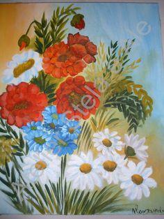 * Um belo buquê de flores para deixar sua sala ou seu quarto mais alegre e florido. * Técnica de pintura em tela com arranjo de flores. Neste preço a tela será confeccionada e enviada sem a moldura, como a da foto.  * Com moldura basta entrar em contato para definir detalhes como o modelo e cor da moldura desejada. * A tela utilizada foi de um tamanho de 38X46, outros tamanhos influirá em modificações no valor para mais ou para menos (à depender o tamanho da tela solicitada) R$ 132,00