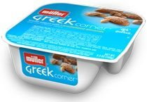 This stuff with a sliced banana is better than ice cream! Greek Corner Yogurt Caramelized Almonds | Muller Quaker Dairy