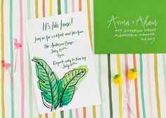 Oh So Beautiful Paper: Summer Cocktail Series: Modern Tiki Party Inspiration Luau Theme Party, Tiki Party, Party Themes, Party Ideas, Cocktail Party Invitation, Party Invitations, Watercolor Invitations, Coordinating Colors, Summer Cocktails