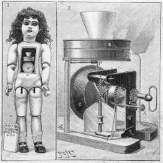 The talking doll, invented by Thomas Edison. Design showing the phonograph mechanism in the interior, 1890