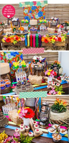 Tenho que confessar que, todo ano eu me preparo para publicar ideias para festa junina, muito antes de junho chegar. Renovo a minha galeria de inspirações, Mexican Birthday, Fiesta Baby Shower, Happy Party, Tropical Party, Candy Buffet, Baby Decor, Holiday Parties, Party Time, Diy And Crafts