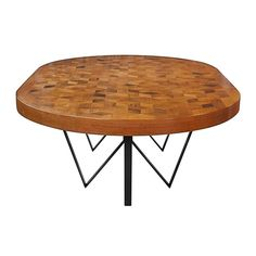 Maurits Oval Marquetry Table in Reclaimed Oak from Old Italian Wine Barrels…