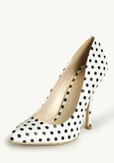 Table For Two Polka Dot Heels 38.99 at a target=_blank href=http://shopruche.com/table-for-two-polka-dot-heels.htmlshopruche.com/a. Crafted in white faux leather, these darling heels feature a black polka dot print and a sleek pointed toe. Pair these heels with your favorite outfits all year round for a fun, polished look.All man-made materials, Imported, 4.25