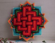 Heart of a Dragon - woven thread tibetan mandala - wall / door hanging, home decor - eye of God / ojo de Dios / olho de Deus