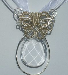 Faceted Clear Crystal Tear Drop Pendant Wire by JewelsoftheNorth, $40.00