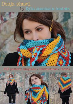 PDF Pattern DIY Crochet granny square neck scarf by NastiinDesigns